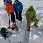 building a snow anchor with Ode Siivonen