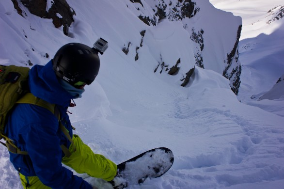 Jonas dropping in unnamed couloir in Lyngen. Own footsetps guiding the way