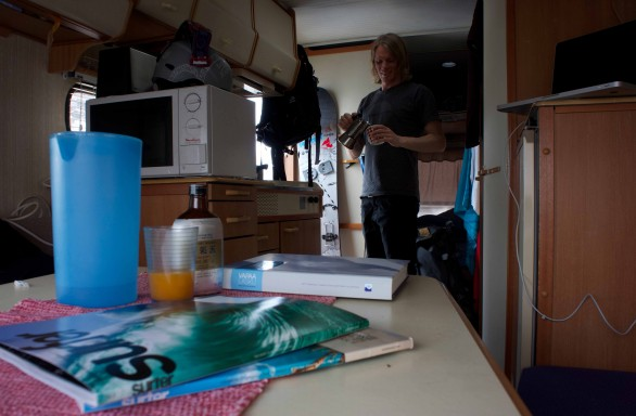 Caravan life - my home in Tamok. Surfer mag awakes dreams of surfing. Luckily the sea is not far
